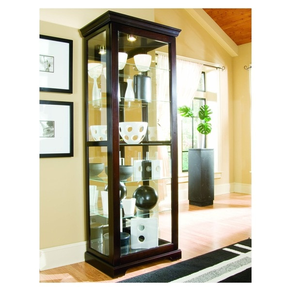 Chocolate Cherry II Finish Two-way Sliding Door Curio Cabinet