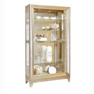 Platinum Finish Wood Side Door Entry Curio Cabinet - 46 x 14 x 82