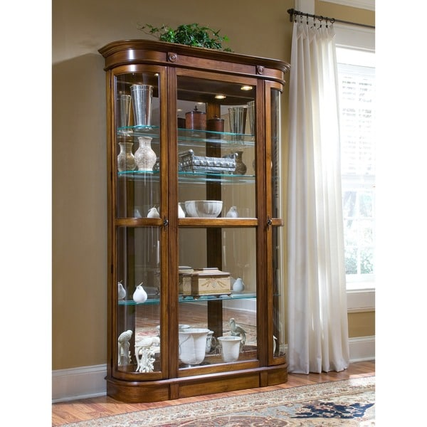 Brown Antiqued Finish Curved End Curio Cabinet