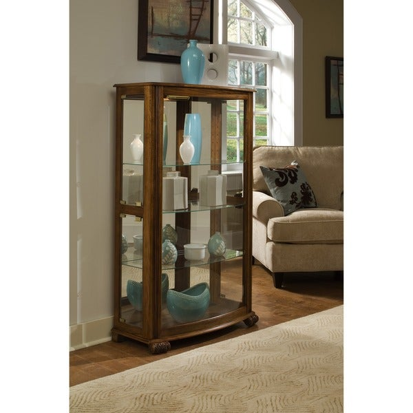 Pepper Oak Finish Mantel Height Curio Cabinet