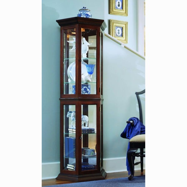 Brown Canted Front Curio Cabinet