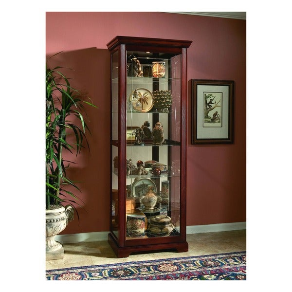Victorian Cherry Finish Two-way Sliding Door Curio Cabinet