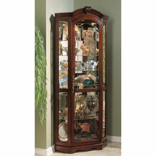 Medallion Cherry Corner Curio Cabinet