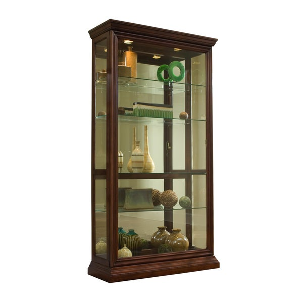 Medium Brown Finish Two-way Sliding Door Curio Cabinet