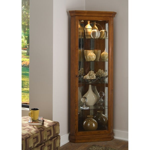 Golden Oak Brown Corner Curio Cabinet