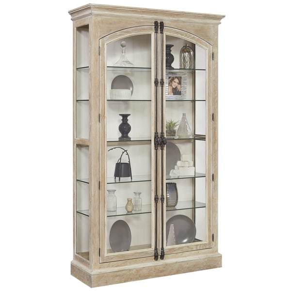 Light Brown Finish Two Front Door Opening Curio Cabinet