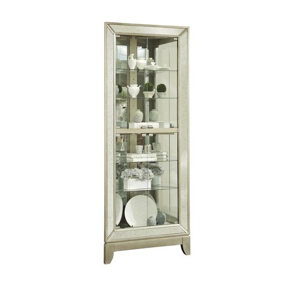 Silver Corner Mirror Front Curio Cabinet