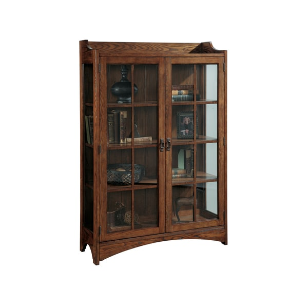 Brown Mission-style Two-door Front Entry Curio Cabinet