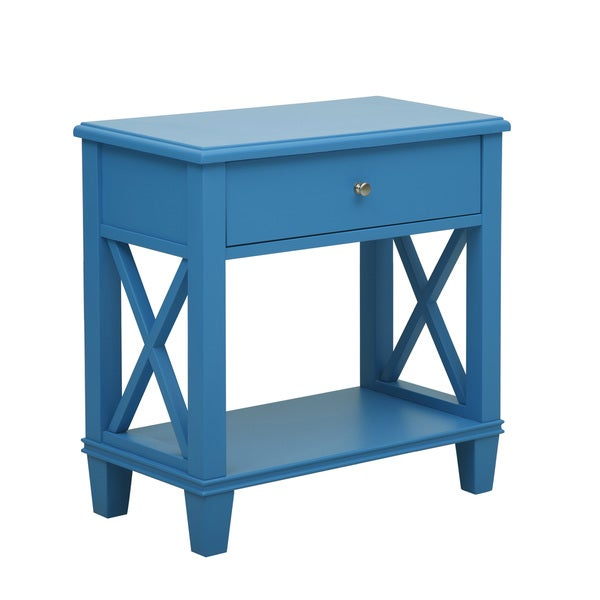 Blue Wood Side Table