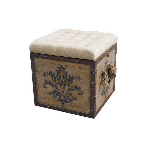 Natural Finish Wood Ottoman