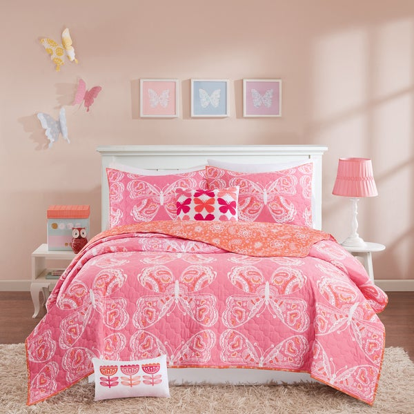 INK+IVY Kids Julia Pink Cotton Coverlet Set