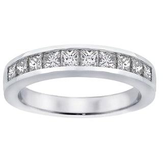 Platinum 1ct TDW Channel-set Princess-cut Diamond Wedding Ring (G-H, SI1-SI2)