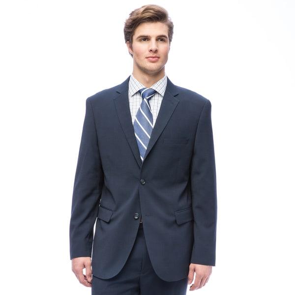 Caravelli Men's Slim Fit Blue Notch Collar 2-button Plaid Suit