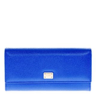 Dolce & Gabbana Royal Blue Dauphine Calfskin Flap Wallet