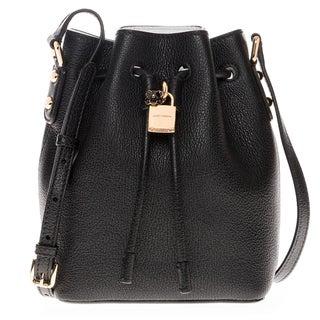 Dolce & Gabbana Small 'Claudia' Grained Leather Flower-Padlock Drawstring Bucket Bag