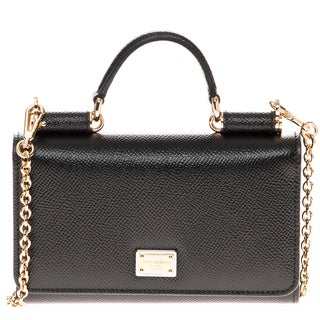 Dolce & Gabbana Mini 'Von' Dauphine Print Leather Top Handle Bag with Chain Strap