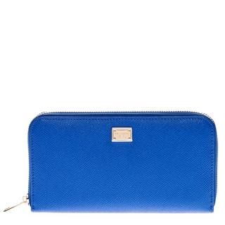 Dolce & Gabbana Blue Dauphine Print Leather Zip Around Wallet
