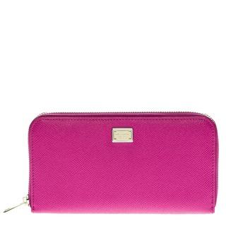 Dolce & Gabbana Dauphine Print Leather Zip Around Wallet