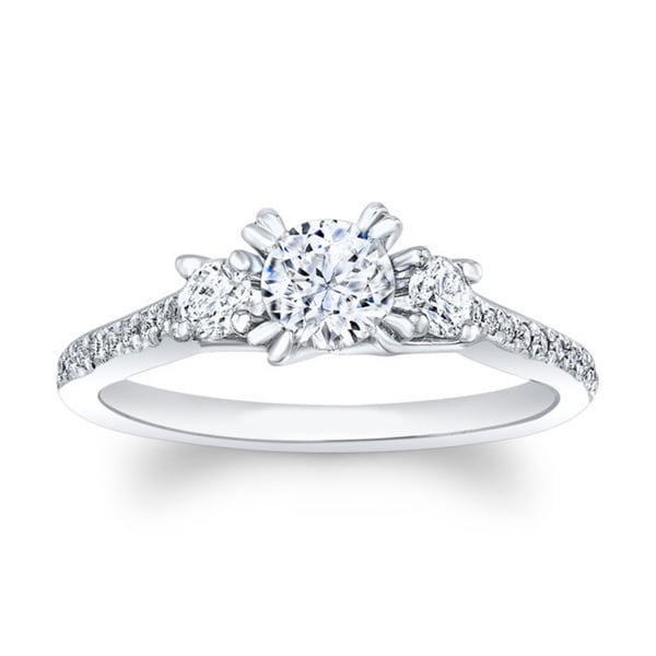 Matthew Ryan 14k White Gold 7/8ct TDW Diamond Round Engagement Ring (F-G, SI1-SI2)