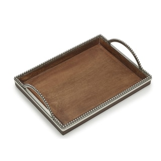 Rectagular Wooden Platter with Metal Beaded Rim and Handles