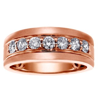 14k/18k Rose Gold Men's 1ct TDW Brilliant-cut Diamond Ring (G-H, SI1-SI2)