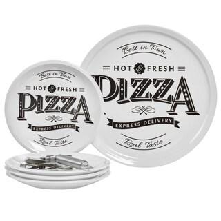 6pc Best In Town Porcelain Pizza Set