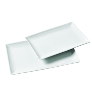 2pc Rectangular Porcelain Serving Tray Set