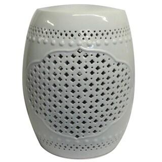 White Pierced Porcelain Garden Stool