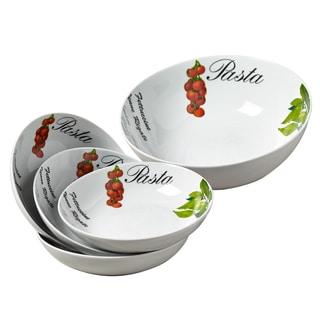 5pc Italian Gourmet Porcelain Round Pasta Set