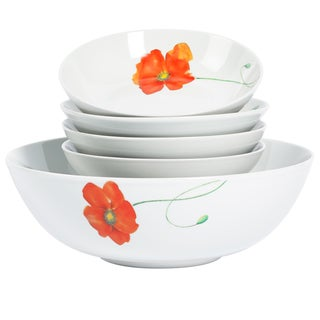 Poppy 5-piecePorcelain Round Pasta Set