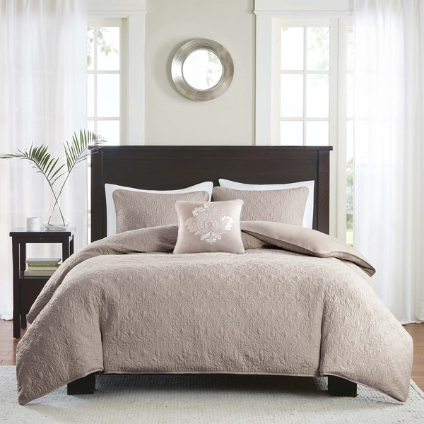 Madison Park Mansfield 2-in-1 Khaki Duvet Cover/Coverlet Set