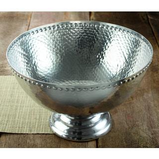 17-inch Hammered Aluminum Pedestal Punchbowl