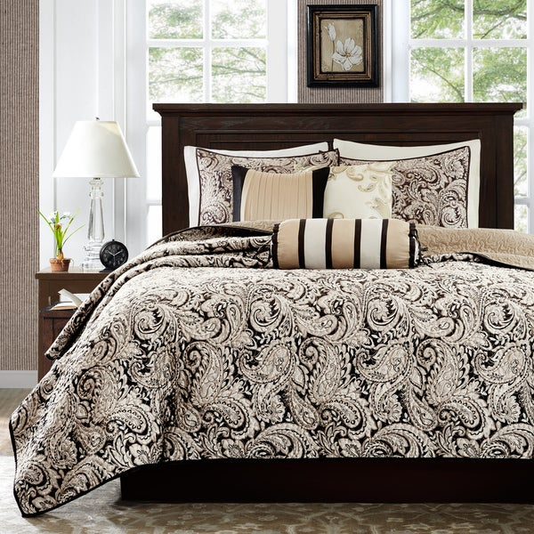 Madison Park Wellington Black Quilted Coverlet Set