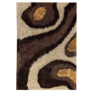M.A.Trading Hand-Tufted Indo Dunes White/ Brown Rug (5'2 x 7'6)