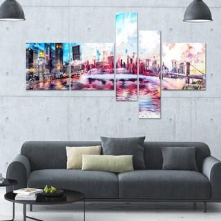 DesignArt 'Vibrant New York' Multi-panel Cityscape Canvas Art