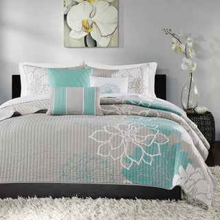 Madison Park Brianna Aqua Quilted Cotton Coverlet Set