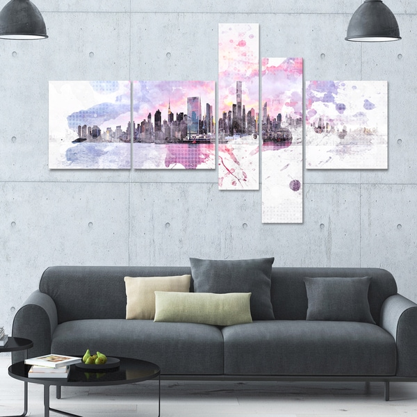 DesignArt 'Sunset Splash' Multi-panel Cityscape Canvas Art