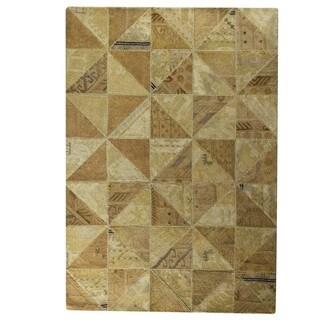 Hand-Tufted Indo Tile Beige Rug (5'2 x 7'6)