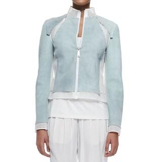 Elie Tahari Suella Blue Suede Leather Jacket