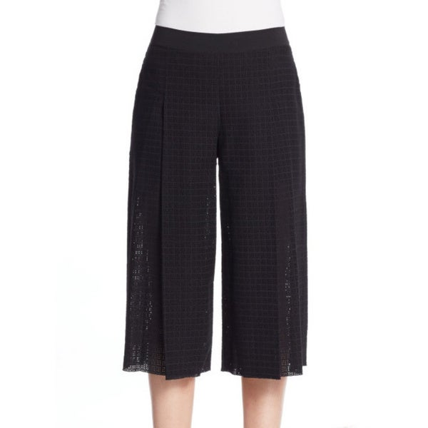 Elie Tahari Wylie Black Cotton Culotte Pants