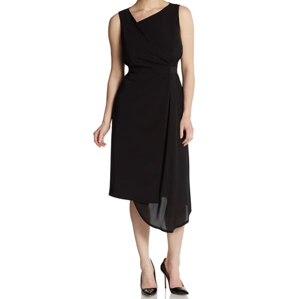 Elie Tahari Lila Black Mock Wrap Dress