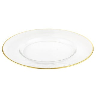 Elegance 13-inch Gold Rim Glass Chargers (Set of 4)