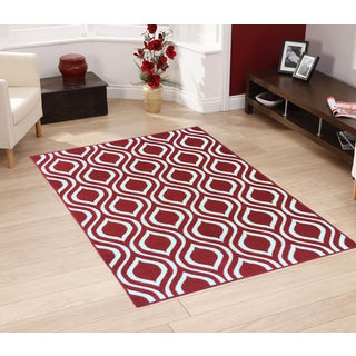 """Berrnour Home Rose Collection Moroccan Trellis Design Area Rug With Non-Skid (Non-Slip) Rubber Backing (3'3""""X4'7"""")"""