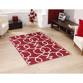 "Berrnour Home Rose Collection Moroccan Trellis Design Area Rug With Non-Skid (Non-Slip) Rubber Backing (3'3""X4'7"")"