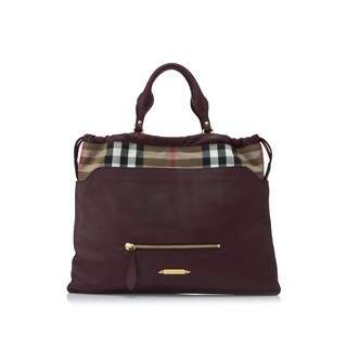 Burberry Big Crush Leather and Canvas House Check Tote