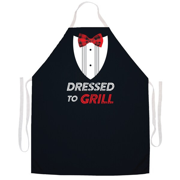 Dressed to Grill' Kitchen Apron-Black