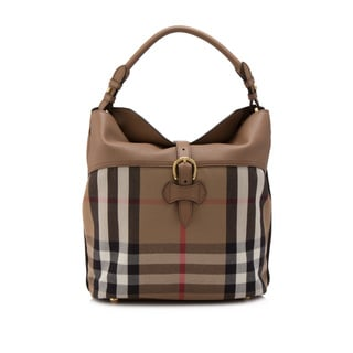 Burberry House Check Horseshoe Leather Medium Sycamore Hobo