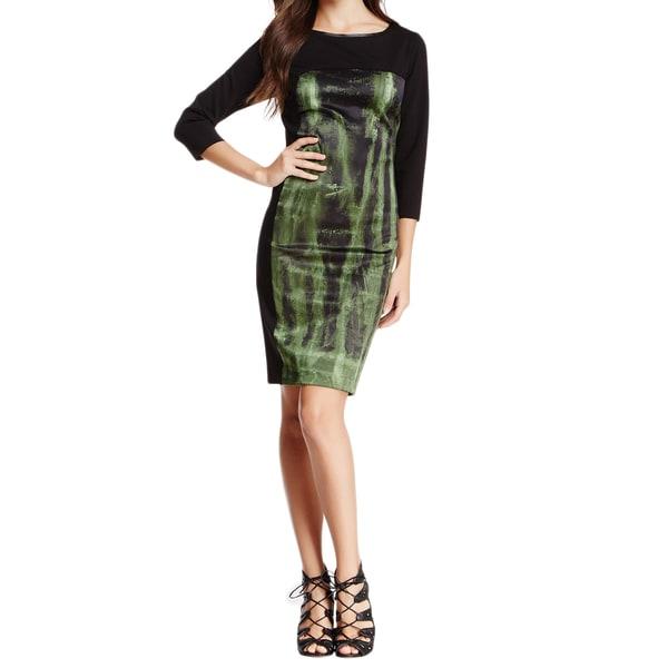 Elie Tahari Dixie Black Dress with Green Decorative Print