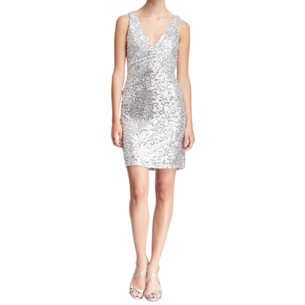 Badgley Mischka Silver Sequin Cocktail Dress