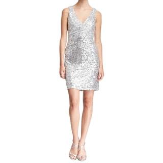 Badgley Mischka Silver Sequin Cocktail Dress